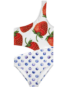 swimsuit with strawberries for girls, bathing suit for girl with strawberries