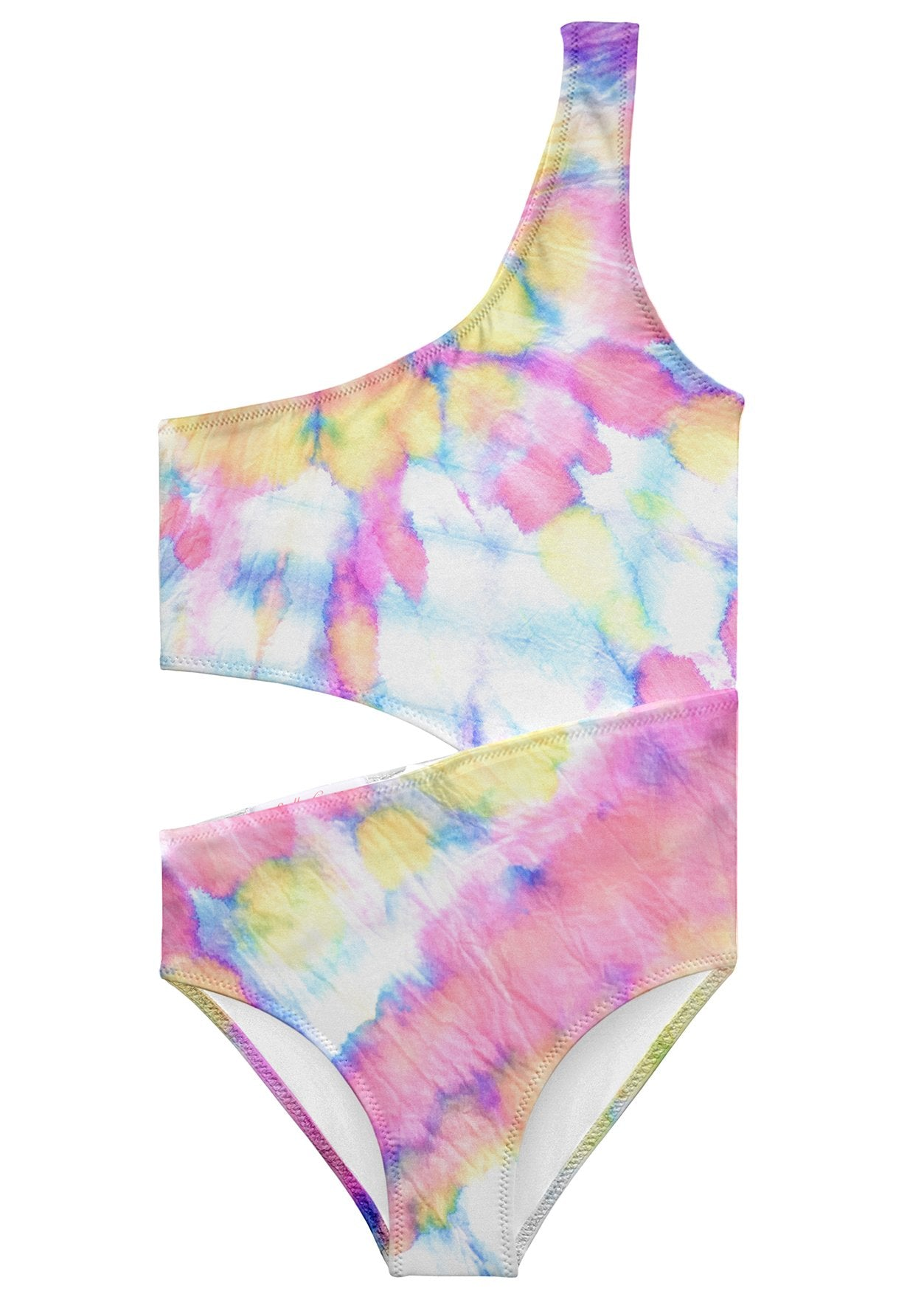 Whirl Tie Dye Side Cut Swimsuit for Girls