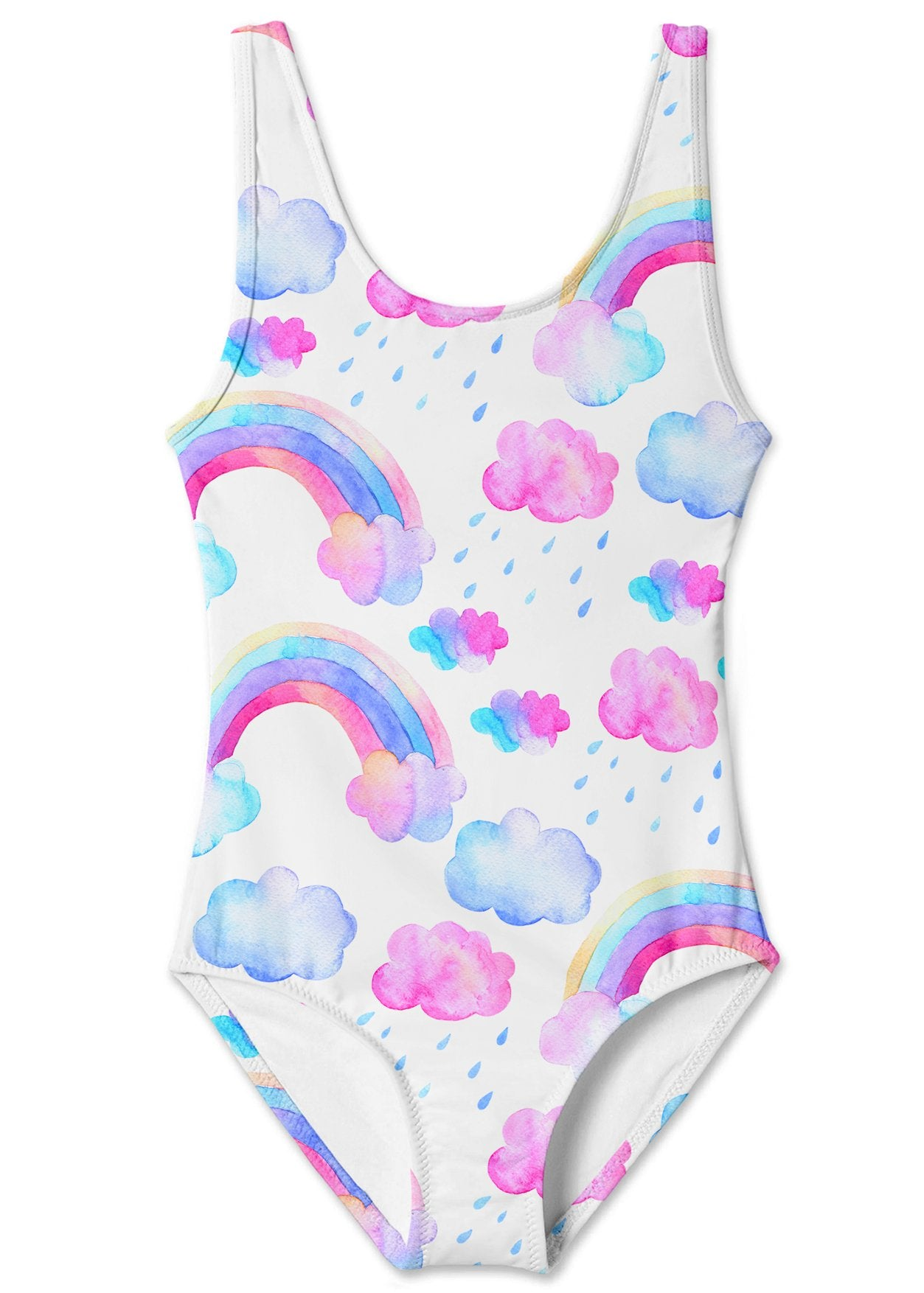 Rainbow and Clouds Tank Swimsuit for Girls