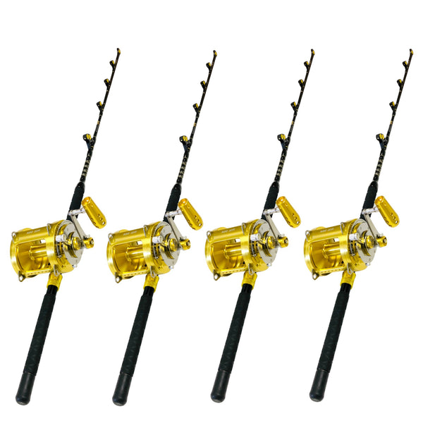 80 Wide 2 Speed Reels on Blue Marlin Tournament Edition Rods (4 Pack), Rod & Reel Combos - Eat My Tackle