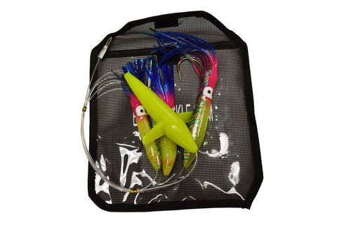 6 in. Rainbow Squid (3) Daisy Chain - Bird Teaser Fishing Lure - Inlcuded Lure Bag, Fishing Lures - Eat My Tackle