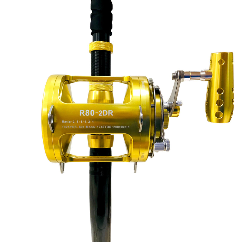 80 Wide 2 Speed Reel on a 160-200 lb. Long Dredge Rod, Fishing Rod & Reel Combos - Eat My Tackle