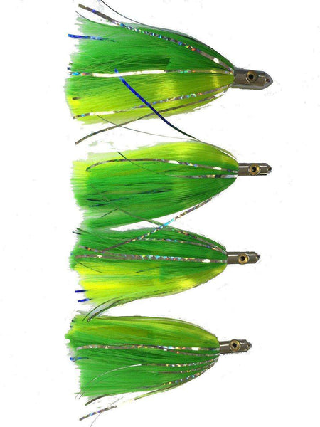 7 in. Green & Yellow Ilander Style - Saltwater Fishing Lures (4 Pack), Fishing Lures - Eat My Tackle