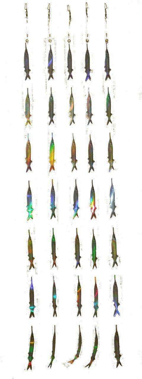 Ballyhoo Dredge Strips - 7 Reflective Bait Fish Teasers (5 Pack), Fishing Tackle - Eat My Tackle
