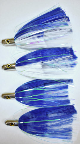 4 Blue And White Ilander Style Saltwater Fishing Lures 3.2 oz, Fishing Lures - Eat My Tackle