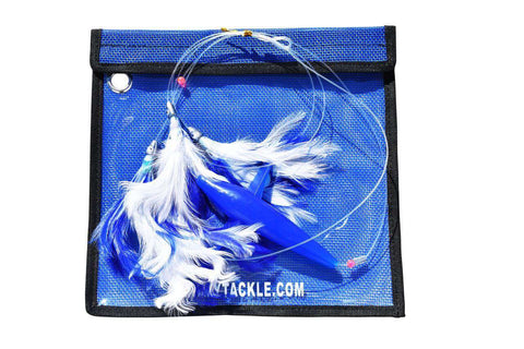 Blue & White Feather Daisy Chain - Bird Teaser Fishing Lure, Fishing Lures - Eat My Tackle