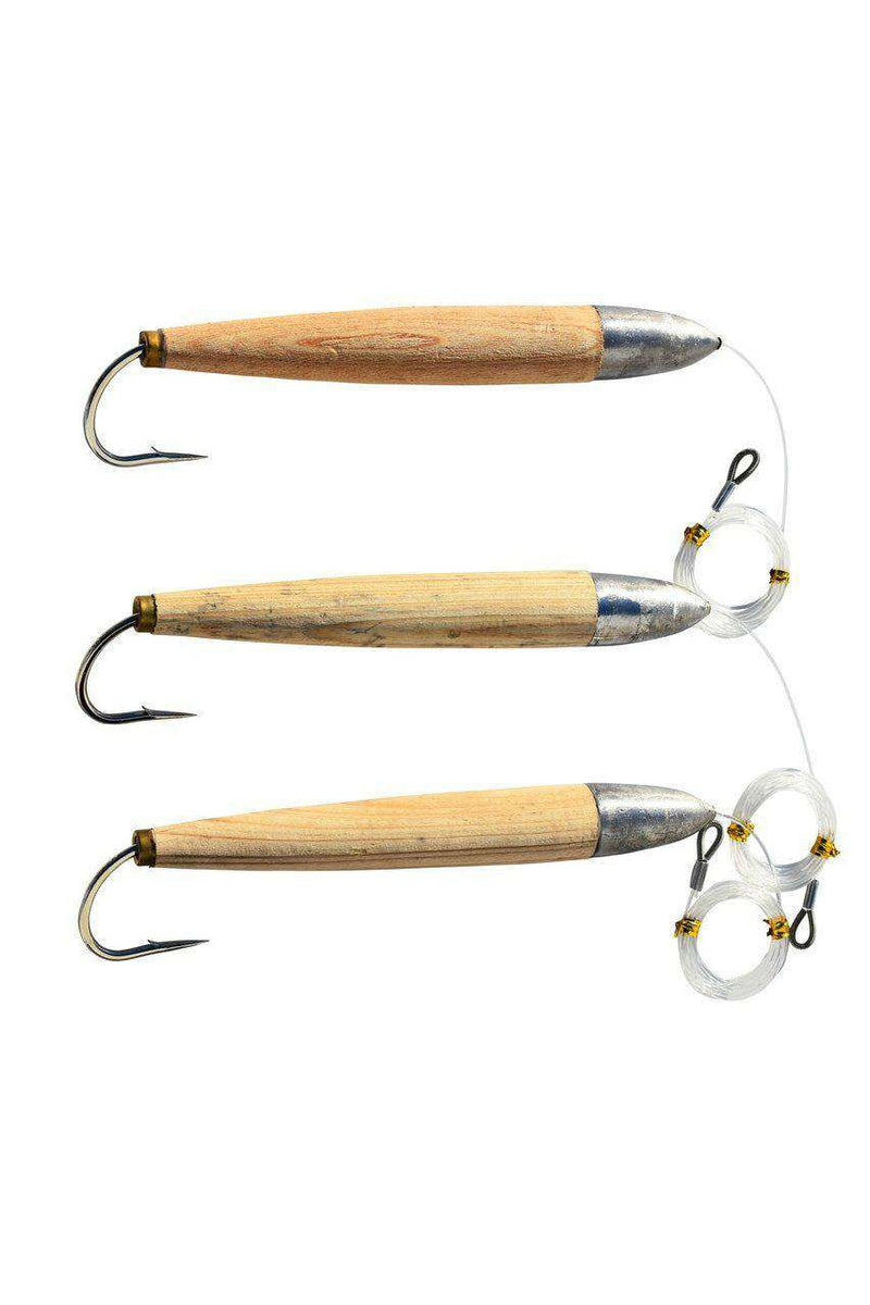 Cedar Plug Fishing Lures - 3 Pack, Mono Rigged, Fishing Lures - Eat My Tackle