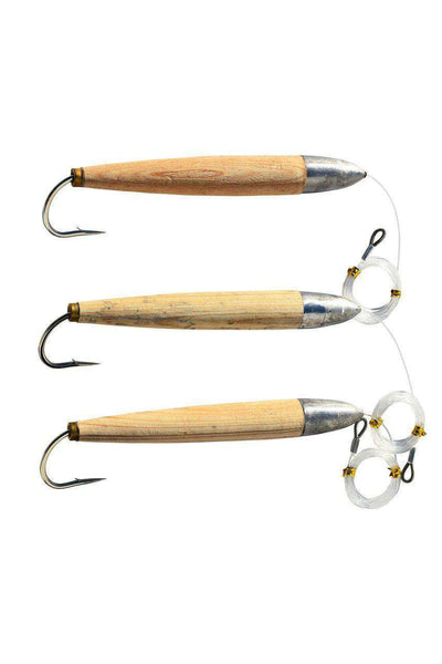 "3 Fully Rigged Giant 8"" Cedar Plug Fishing Lures, Fishing Lures - Eat My Tackle"