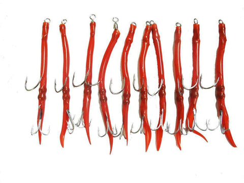 10 Pack Red Rigged Tube Fishing Lures, Fishing Lures - Eat My Tackle