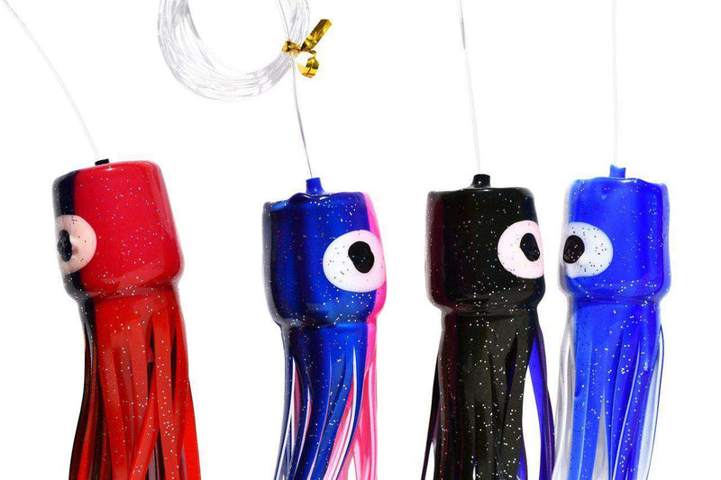 Soft Head Squid Lure Variety 4 Pack - Medium, Mono Rigged, Fishing Lures - Eat My Tackle