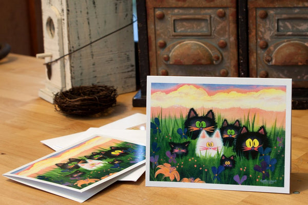 Herd of Kitties Notecard, ©Cynthia Schmidt/ Cranky Cats Collection