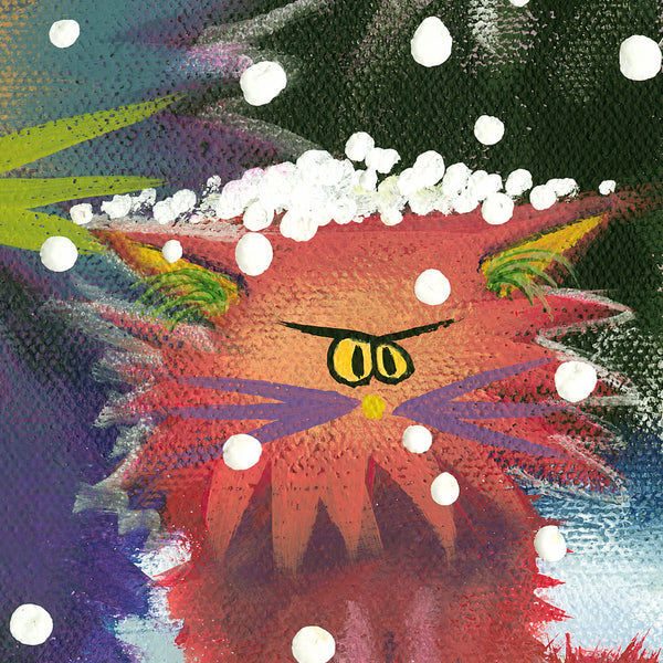 Cranky Cats in a Snowstorm, detail - Cranky Cats Collection by Cindy Schmidt
