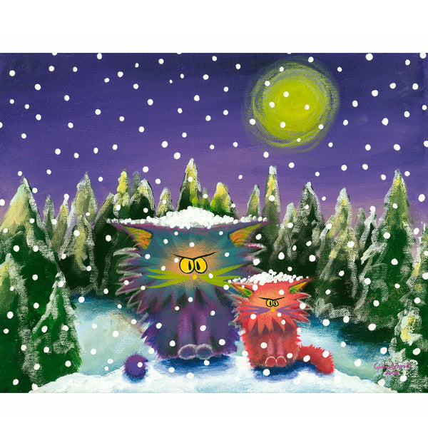 Cranky Cats in a Snow Storm - Cranky Cat Collection™ by Cindy Schmidt