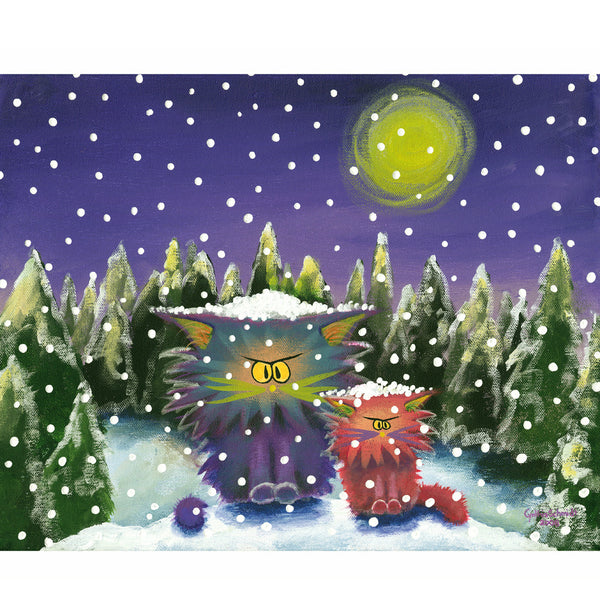 Cranky Cats in a Snowstorm - Cranky Cats Collection by Cindy Schmidt