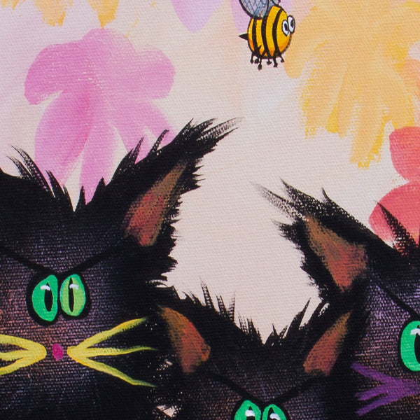 Black Kitties with Inchworms and Bee - Cranky Cat Collection by Cynthia Schmidt