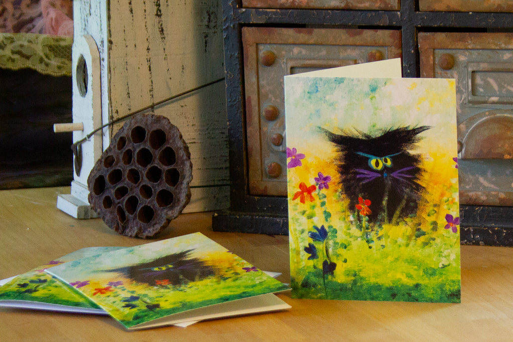 Black Cranky Cat with Purple Whiskers — Note Card