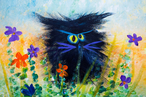Black Cranky Cat with Purple Whiskers - Matted Print