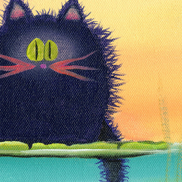 Fishing Cat with Goldfish, detail - Cranky Cat Collection by Cynthia Schmidt
