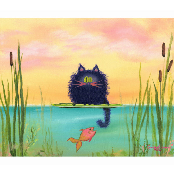 Fishing Cat with Goldfish - Cranky Cat Collection by Cynthia Schmidt