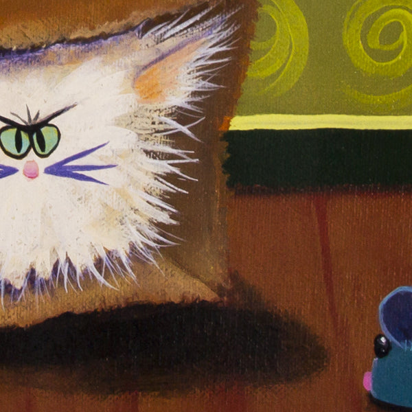 Cat In a Bag, detail - Cranky Cats Collection by Cindy Schmidt