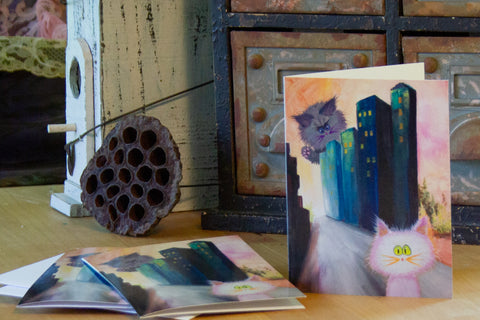 Catzilla In The City — Note Card