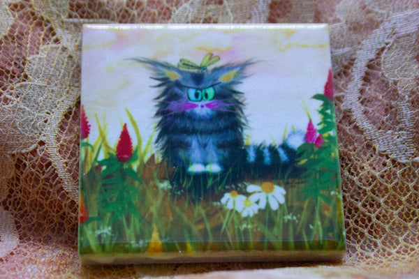 Cranky Cat with Celosia - Magnet