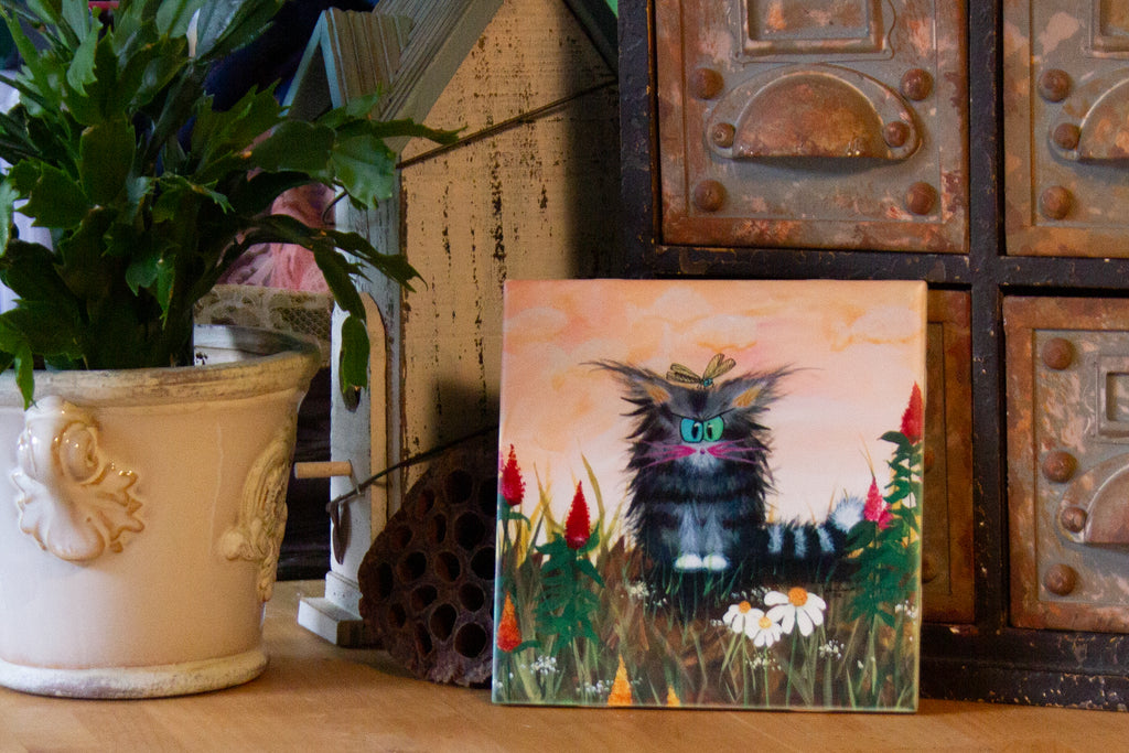 Cranky Cat with Celosia and Dragonfly - Ceramic Tile
