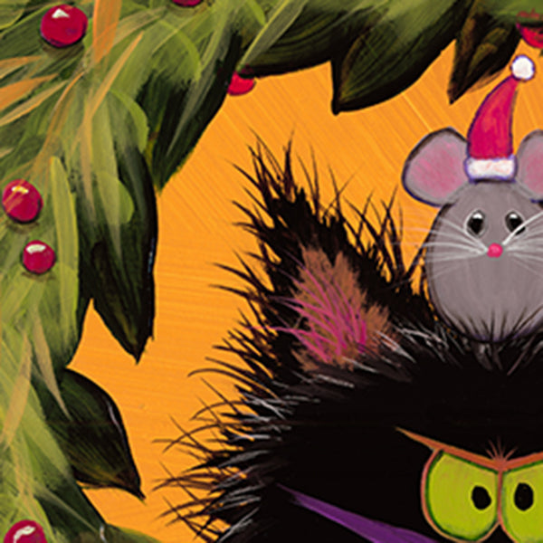 detail, Cranky Christmas Cat in Wreath, now with mouse by Cindy Schmidt