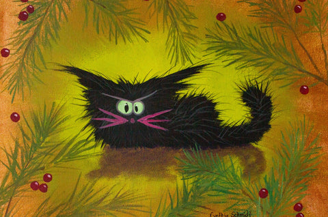 Christmas Black Cranky Cat — Matted Print
