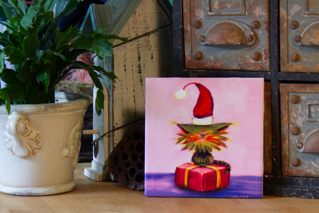 Christmas Cranky with Santa Hat - Ceramic Tile