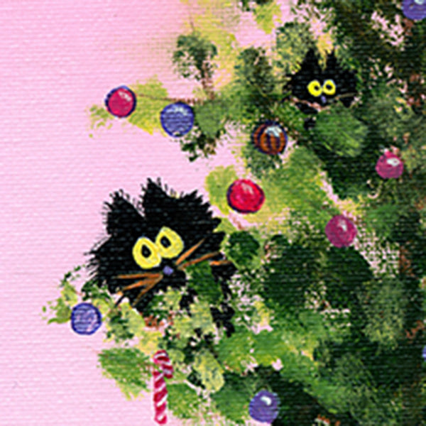 detail, Christmas Tree with Kitties by Cindy Schmidt