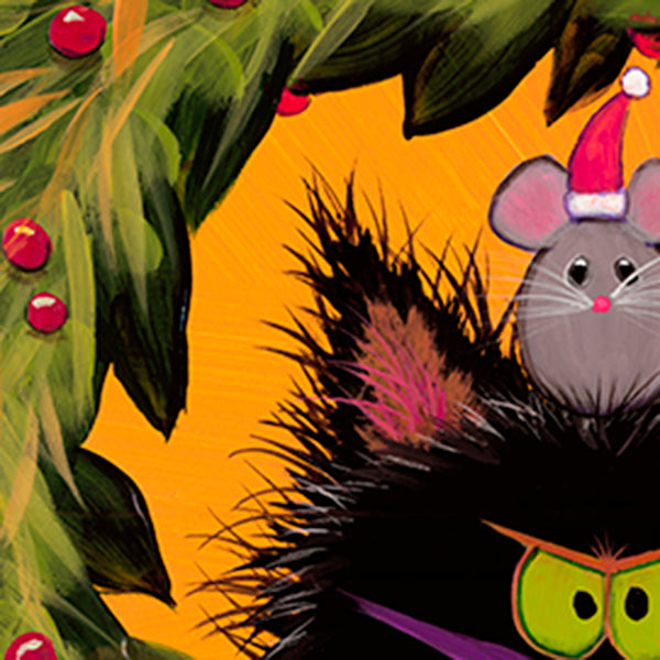 detail Cranky Christmas Cat in Wreath - Cranky Cat Collection™ by Cindy Schmidt
