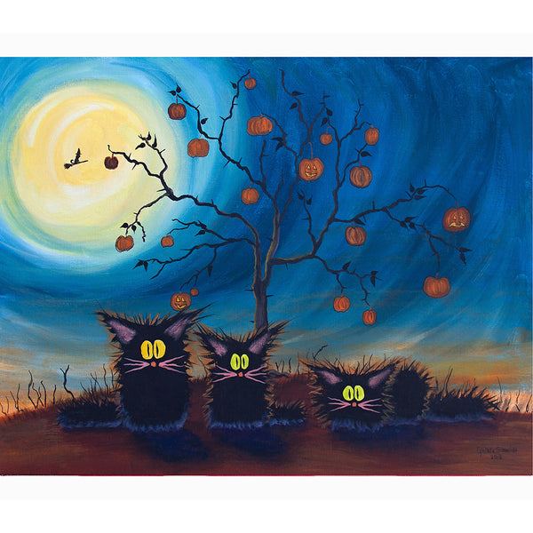 Three Black Halloween Kitties — Cranky Cat Collection™ by Cindy Schmidt