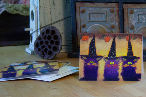 Halloween 3 Purple Witches — Note Card