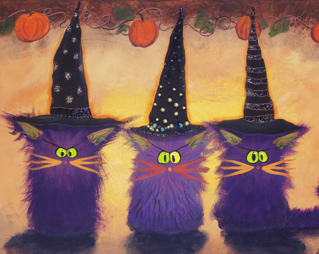 Purple Halloween Witches — Matted Print