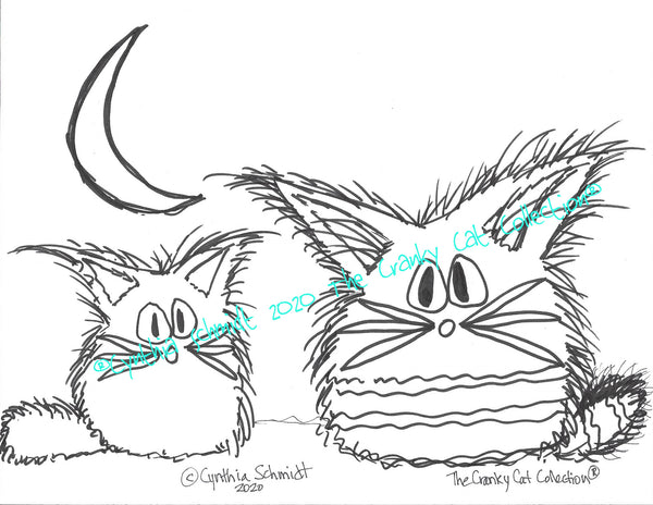 Just The Cats, Please. 5 Cranky Cats Coloring Sheets