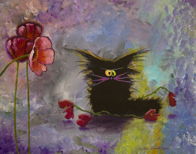 Poppies - matted print Cranky Cat Collection™ from Cindy Schmidt