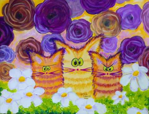 Roses, Daisies, and Cats - ™Cranky Cat Collection by Cindy Schmidt