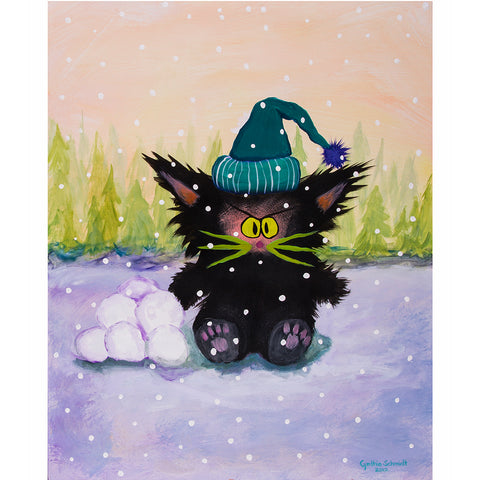 Snowball Cat - Cranky Cat Collection™ by Cindy Schmidt