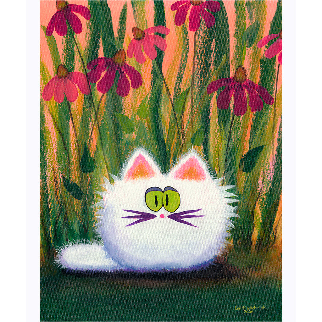 White Cat in Coneflowers - Cranky Cat Collection™ by Cindy Schmidt