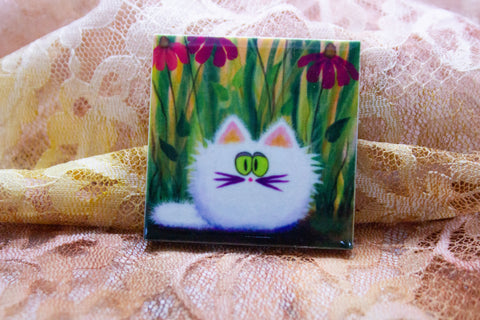White Cat with Coneflowers - Magnet