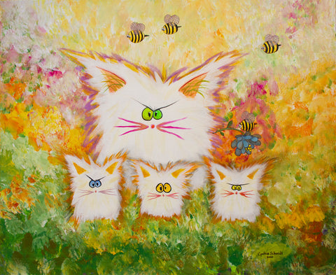 White Cranky Cats with BEES - ™Cranky Cat Collection by Cindy Schmidt