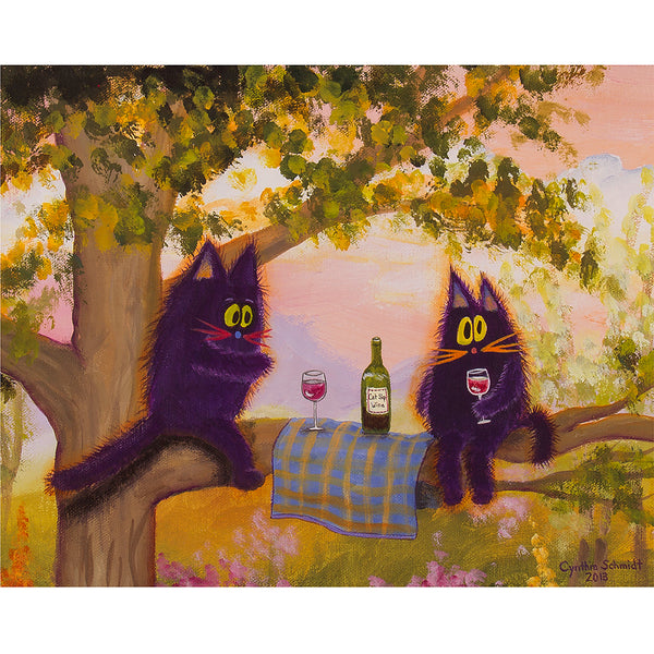 Wine Fest In Tree - Cranky Cat Collection™ by Cindy Schmidt