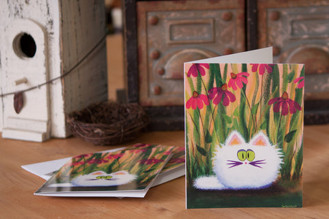 White Cat in Coneflowers  —  Note Card