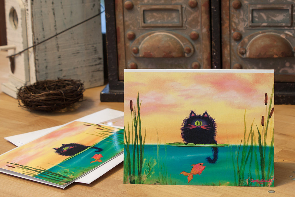 Fishing Cat with Goldfish Note Card - Cranky Cat Collection by Cynthia Schmidt