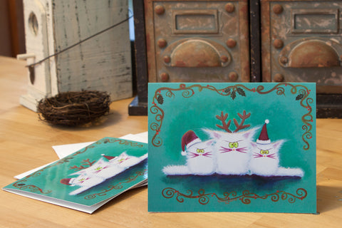 Three White Christmas Kitties  — Note Card