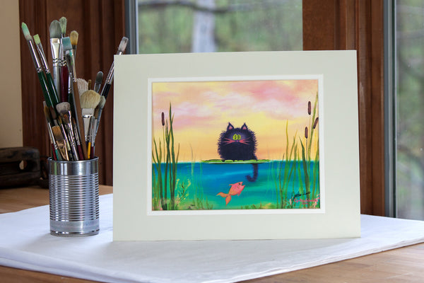 Fishing Cat with Goldfish Matted Print - Cranky Cat Collection by Cynthia Schmidt