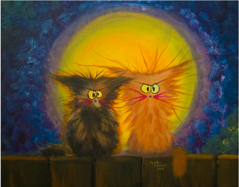 Scraggly Moon Cats — Note Card