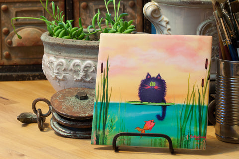cat fishing - Ceramic Tile - Cranky Cat Collection™ by Cindy Schmidt