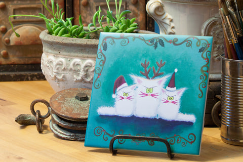 Three White Christmas Kitties - Ceramic Tile - Cranky Cat Collection™ by Cindy Schmidt